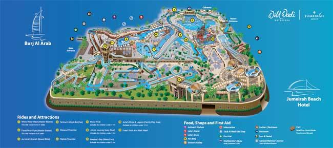 Dubai počitnice, hotel Jumeirah Beach Hotel, Wild Wadi vodni park, zemljevid