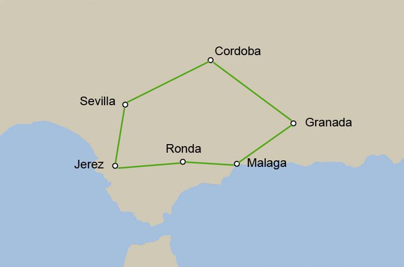 Potovanje Andaluzija, zemljevid poti