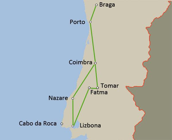Potovanje Portugalska, zemljevid poti